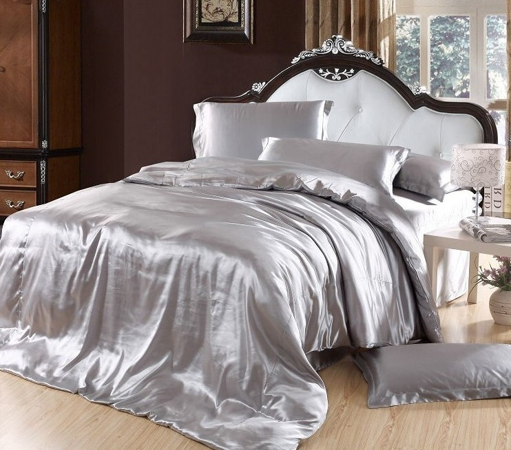 Silver duvet cover bedding sets grey silk satin super king size queen double fitted bed sheets bedspreads quilt doona linen 6pcs(China (Mainland))