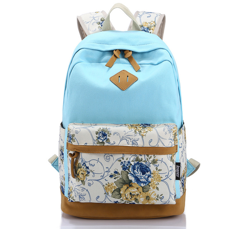 Canvas Match Nubuck Leather Satchel Rucksack Backpacks School Bags for Girls Female Mochila Escolar Printing Backpack School