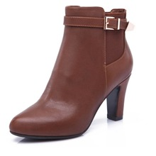 Free Shipping 2015 Fashion Dress Women's  High Heel Round Toe Ankle PU Boots Large Size US 4-19(China (Mainland))