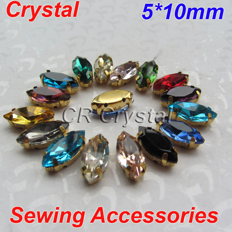 5x10mm 100pcs/Bag Marquise Crystal Rhinestones Golden Claws Settings Sew Garment Accessories  -  Yiwu XinZun Accessories store