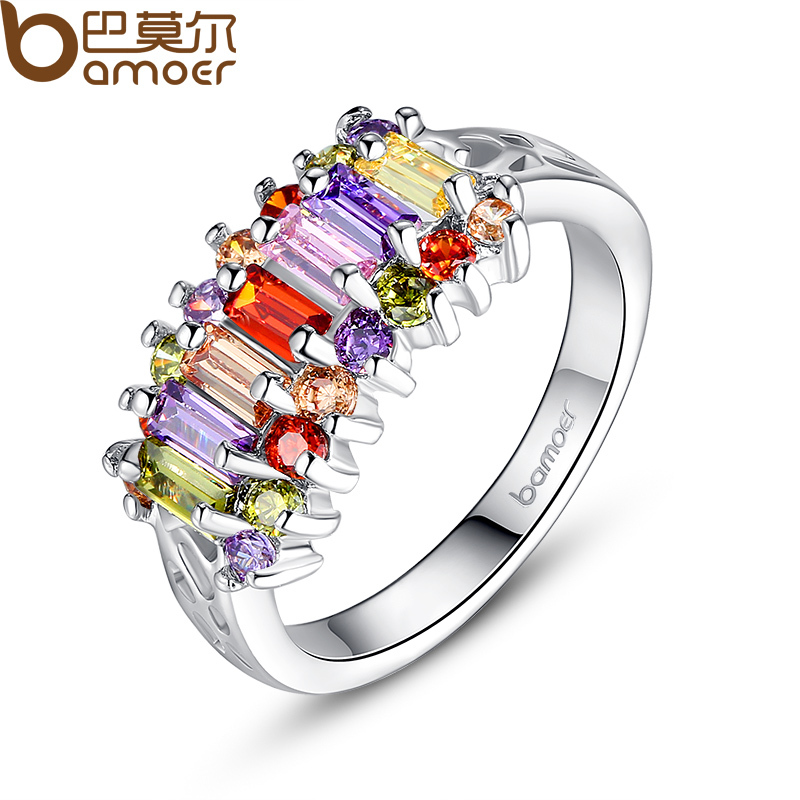 BAMOER White Gold Natural Sapphire Ruby Ring with Trapezoid AAA Multicolor Imitation Diamond For Women Engagement