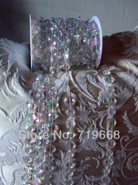 STOCK!30Meters/99Feet/roll 10mm acrylic disk beaded Iridescent rainbow crystal garland strands for wedding decoration chandelier(China (Mainland))