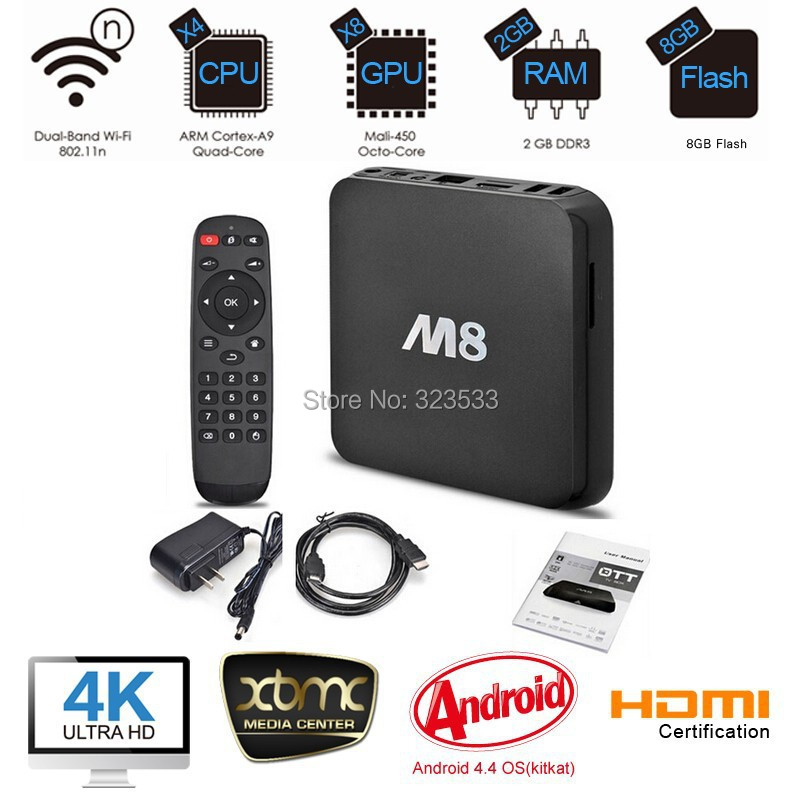 Original M8 fully loaded XBMC Amlogic S802 Android TV Box Quad Core 2G/8G Mali450 4K 2.4G/5G Dual WiFi Pre-installed APK ADD ONS(China (Mainland))
