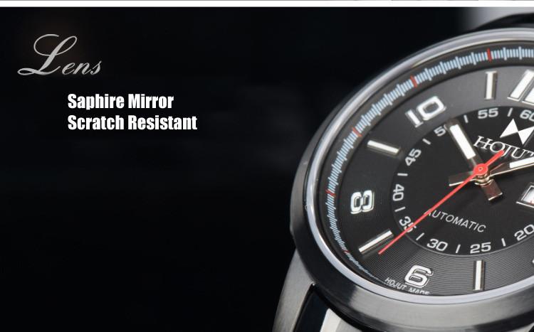 HOJUT A49 мужчины автоматические механические календарь двойной дисплей спорта способа militar amry наручные часы