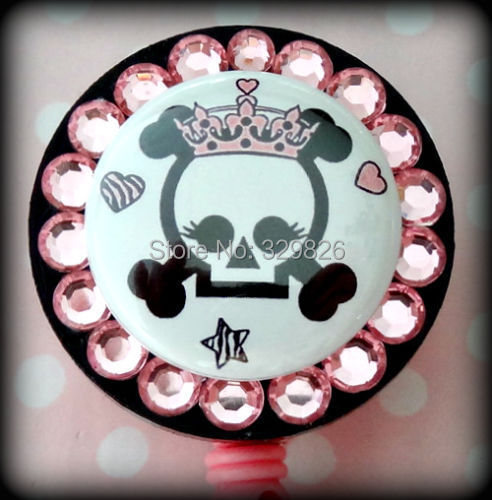 Free Shipping wholesales SKULL BLING ID REEL BADGE HOLDER with Charms Nurse Teacher etc  10pcs/lot <br><br>Aliexpress