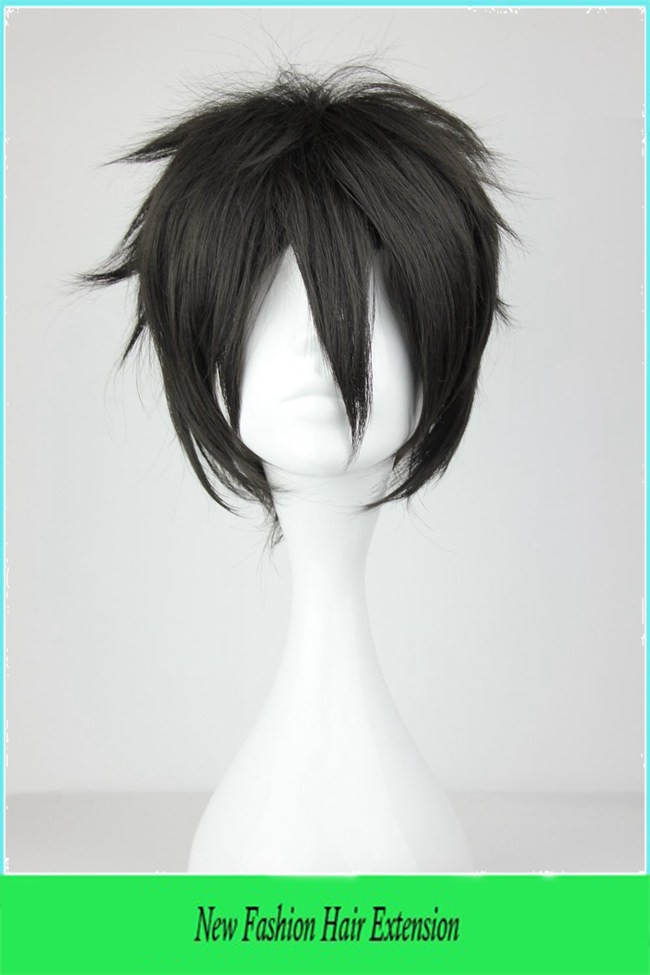 2015 New Arrival Best Grade Heat Resistant Synthetic 25cm Man Short Black Cosplay Wig Free Wig Net(China (Mainland))