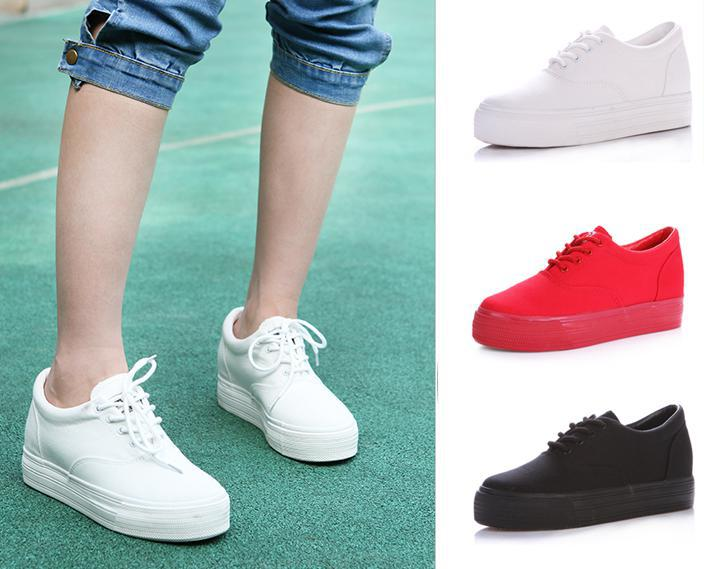 Thick Soled Sneakers New Arrive Height Increasing Women's High Heel Canvas Shoes Platform Sneakers Hot Sale Good Quality(China (Mainland))