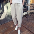 M 5XL Men s clothing linen breathable male casual ankle length trousers drawstring plus size loose