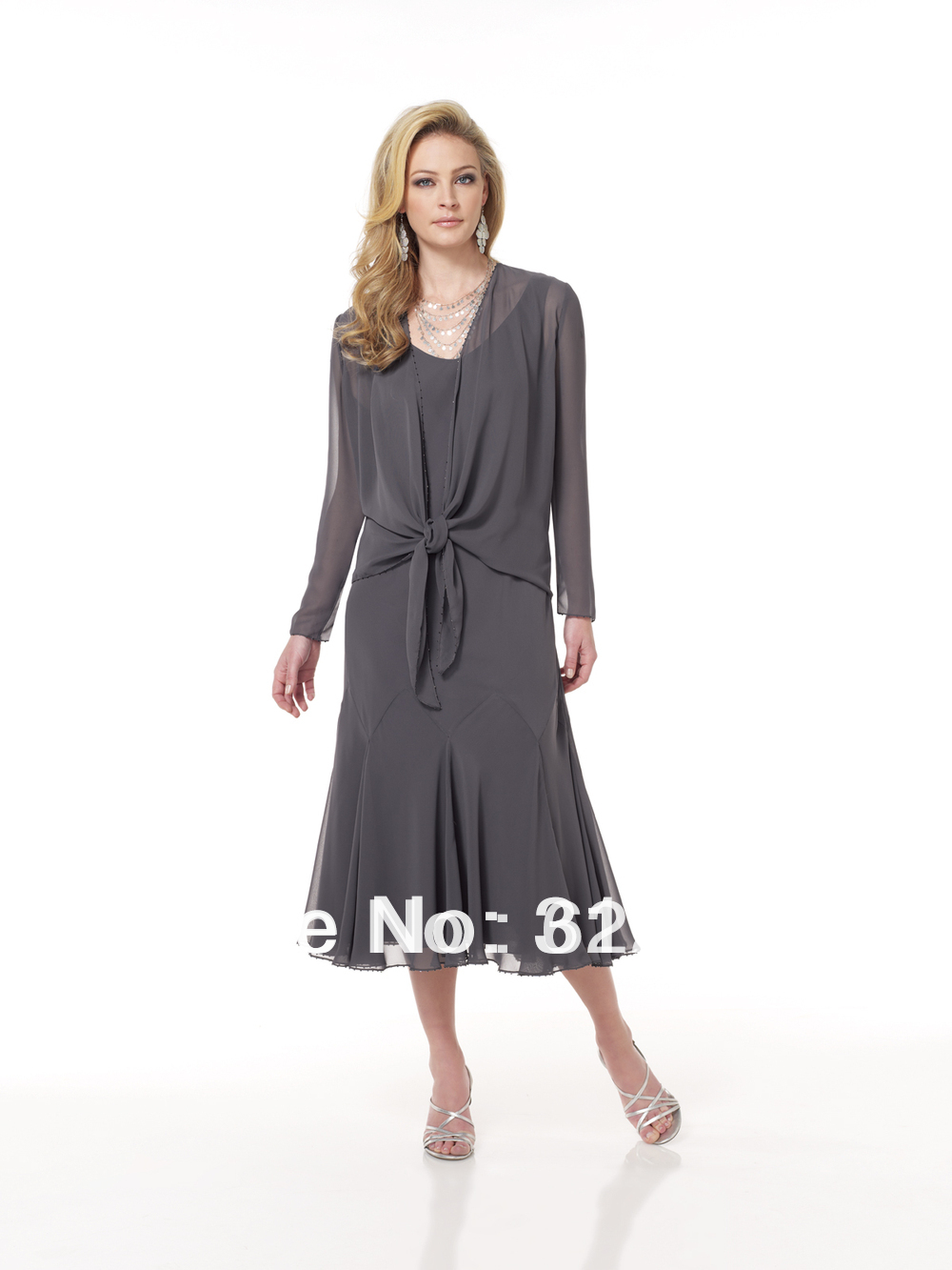 Fashion Design Long Sleeve Grey Mother Of The Bride Dress