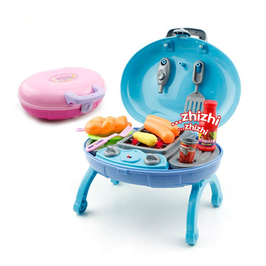 1:2 BBQ toys set 12PCS in1 Flash+Sound+Portable Oval-shaped Age3+ Play house Multicolor Family toys Child Gift Kitchen Miniature(China (Mainland))
