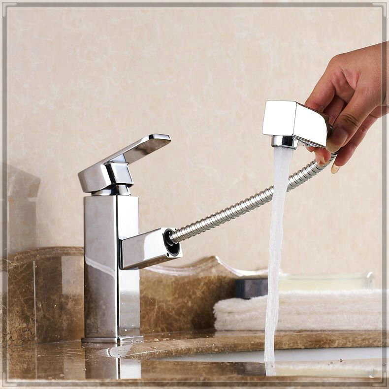 Big Sale New Basin Pull Out Faucet Bathroom Sink Faucet Hot Cold Copper Water Tap Basin Mixer