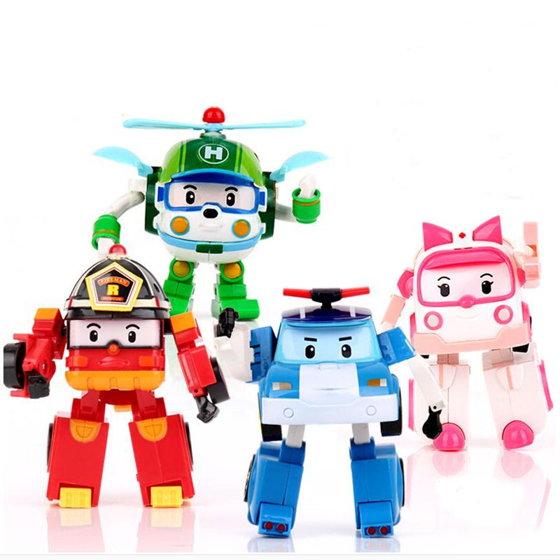 4pcs/Set Korea robot classic plastic Transformation Toys Toys Best Gifs For Kids free shipping #FB(China (Mainland))