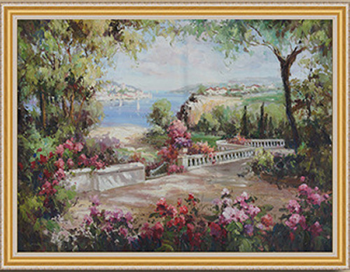 Wholesale Handpainted Oil Painting On Canvas Mediterranean Landscape Painting for Home Decor(China (Mainland))