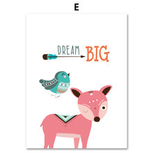 COLORFULBOY Modern Kawaii Animals Baby Dream Quotes Canvas Painting For Kids Room Nursery Wall Art Print Poster Decor No Frame(China)