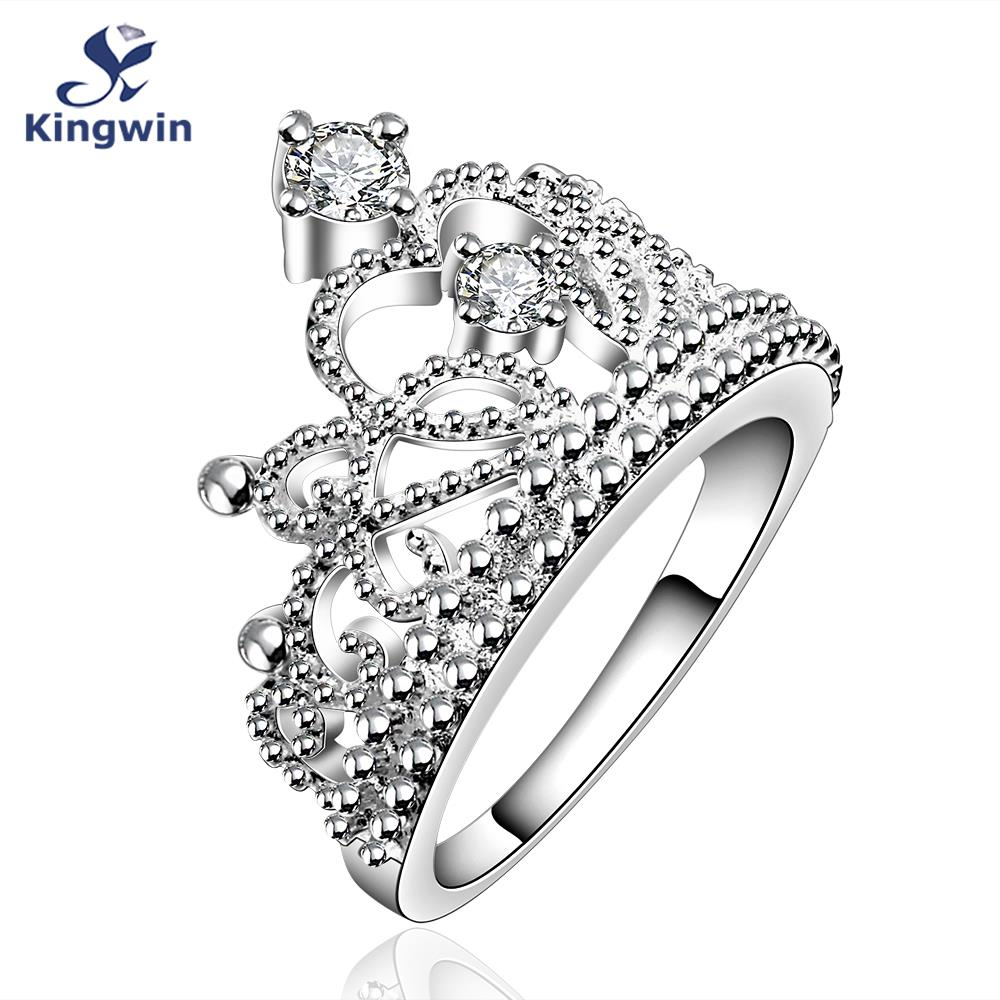 high quality designer brand cz diamond jewelry Silver plated new fashion tiara crown finger rings for lady(China (Mainland))