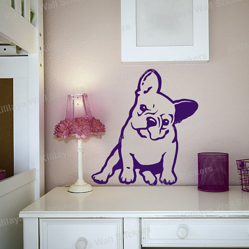 french bulldog melancholy dog pet vinyl wall sticker removable wall decals wallpaper for living. Black Bedroom Furniture Sets. Home Design Ideas