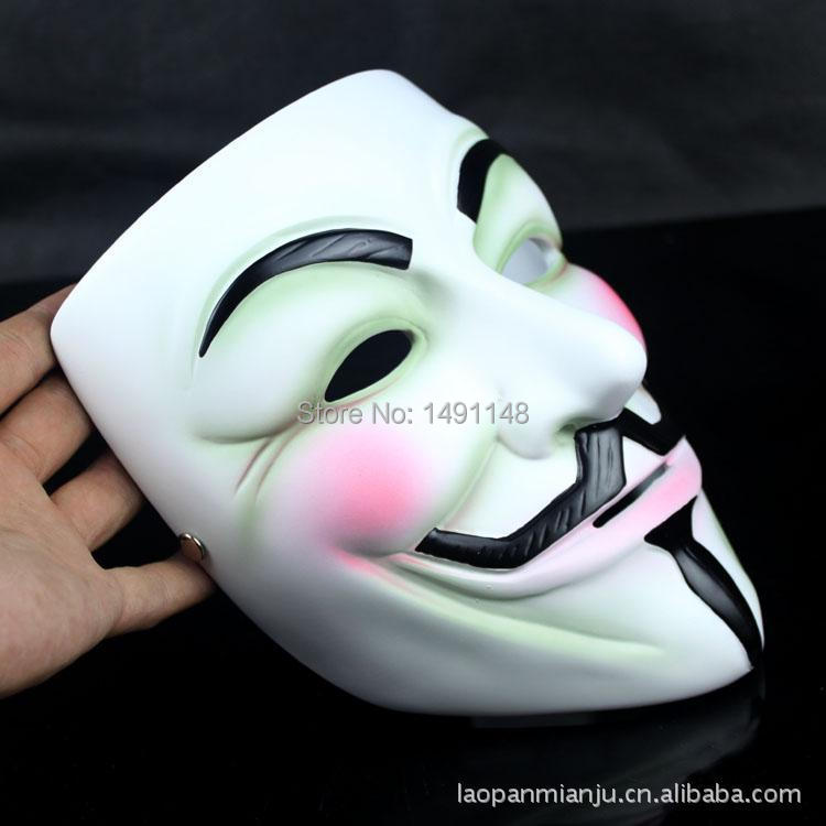 Hot sale Firm and Exquisite Gift Packing Resin V for Vendetta Mask V Masquerade Party Masks Resin Craft Collectibles(China (Mainland))