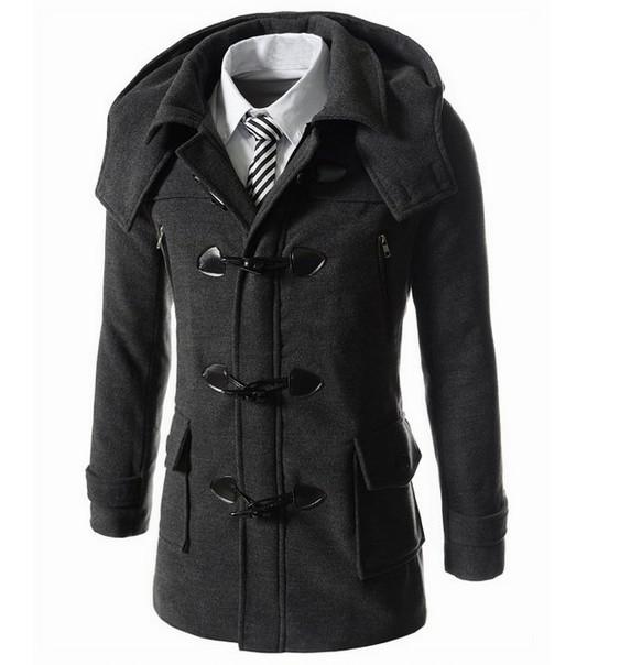 Moda Stylish Men casacos 2016 homens de lã masculina Trench casacos de inverno casaco de lã botão da buzina casaco de lã casacos M-XXL