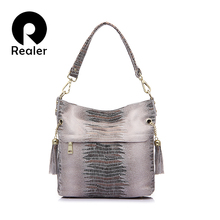 REALER brand genuine leather crocodile bags for women shoulder messenger bags casual tote bag hobos handbag with tassel(China (Mainland))