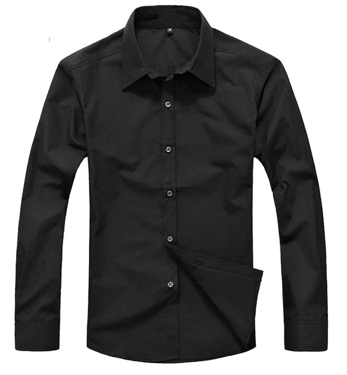 Free shipping new men 39 s long sleeve solid color button for Solid color button up shirts