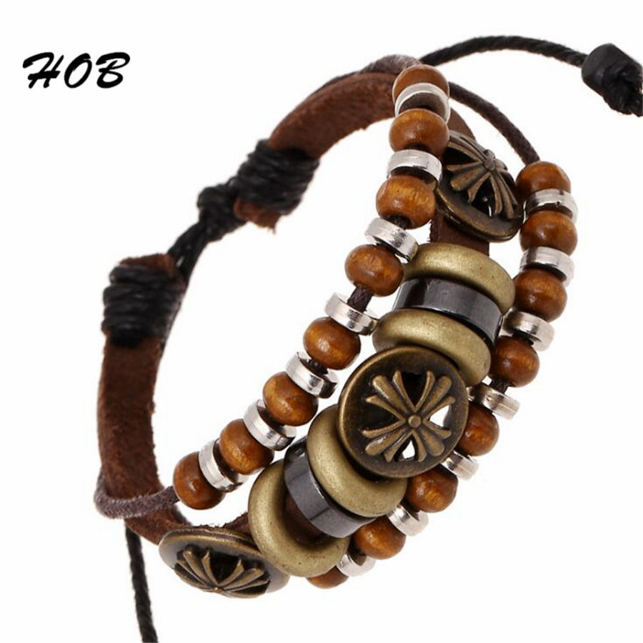 Vintage Genuine Leather Antique Gold Cross Charm Bracelets Multilayers For Women Men Adjustable Braided Wristband Cuff Jewelry X(China (Mainland))
