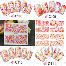 1sheet Nail Art Decorations Full Cover Water Transfer Foil Nail Sticker Decal Manicure Beauty Wraps Styling tools #BLE C108-111
