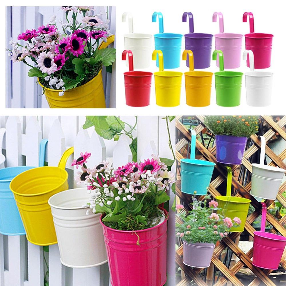 metal iron flower pot hanging balcony garden plant planter. Black Bedroom Furniture Sets. Home Design Ideas