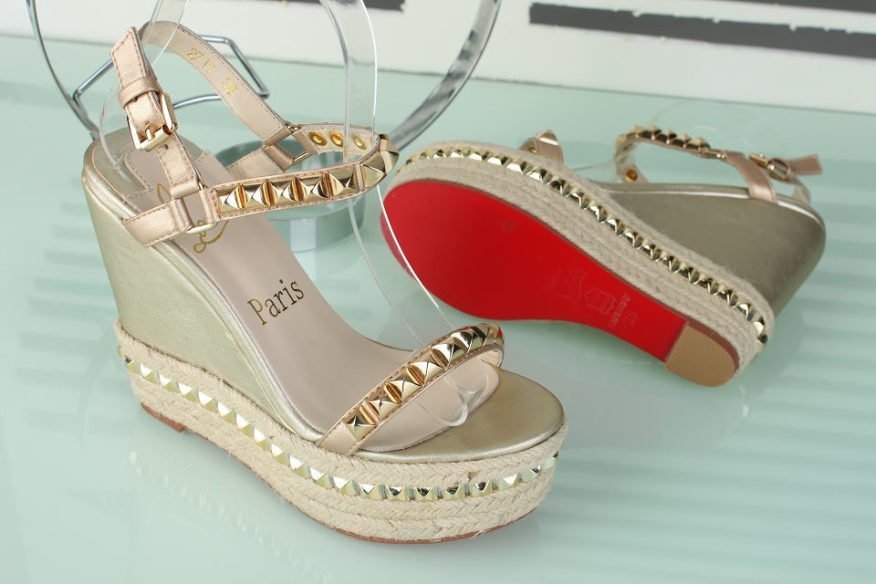 2014 New Design Studded leather and rope wedge sandals studs high heel pump wedges shoe(China (Mainland))