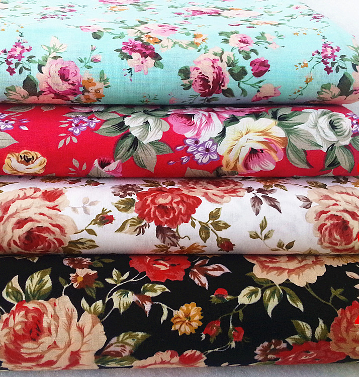 150*50cm vintage style big flower printed patchwork poplin fabric cotton,bedding set/curtain/tablecloth sewing textile,2pcs/lot(China (Mainland))