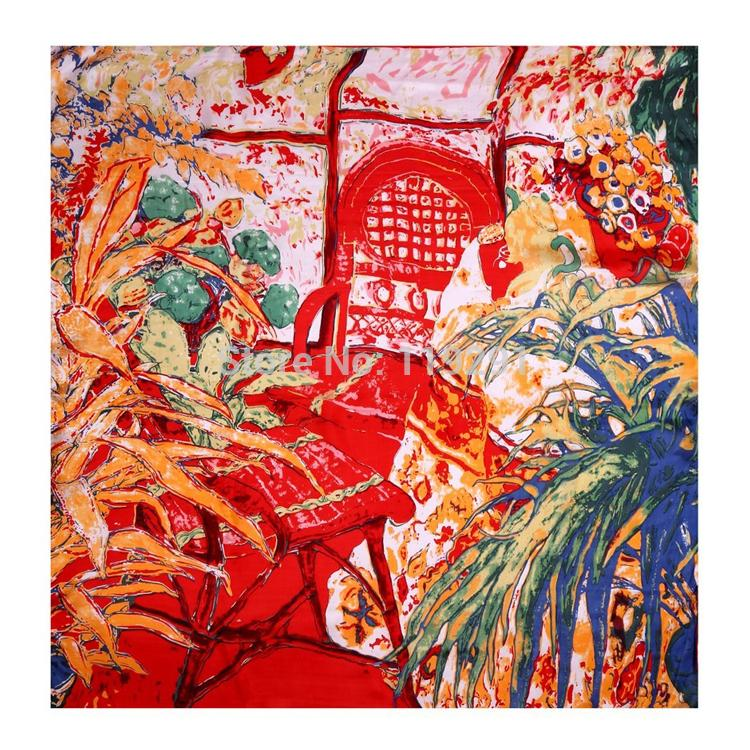 2015 Hot Sale Women's Fashion Big Soft Wrap Lady Shawl Silk Painting Scarf DF9130(China (Mainland))