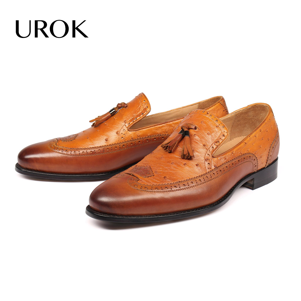 Custom Made Men Ostrich Skin Tassel Loafers Hand Sewing Flat Slip-on Plain Round Toe Breathable Wingtip Brogue Shoes(China (Mainland))