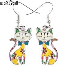 Newei Drop Cat Earrings Jewelry Alloy Enamel Dangle Earrings Sliver For Women 2015 New Fashion Brand Long Charm Collar Animal(China (Mainland))
