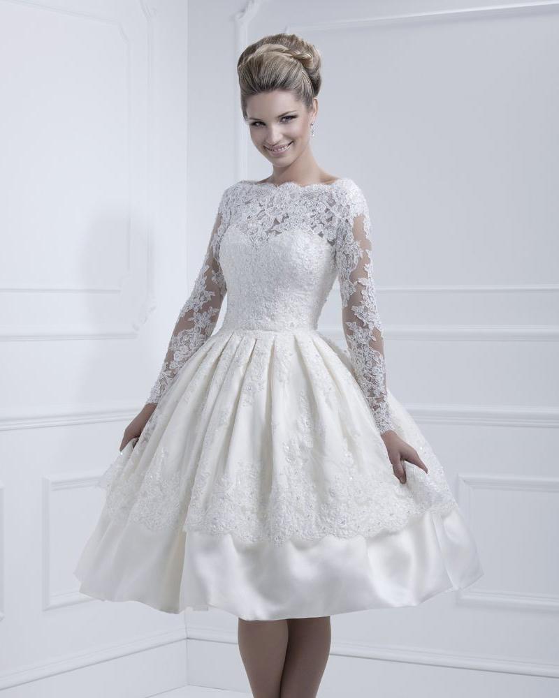 Buy vestido de novia curto tea length for Long sleeve tea length wedding dresses