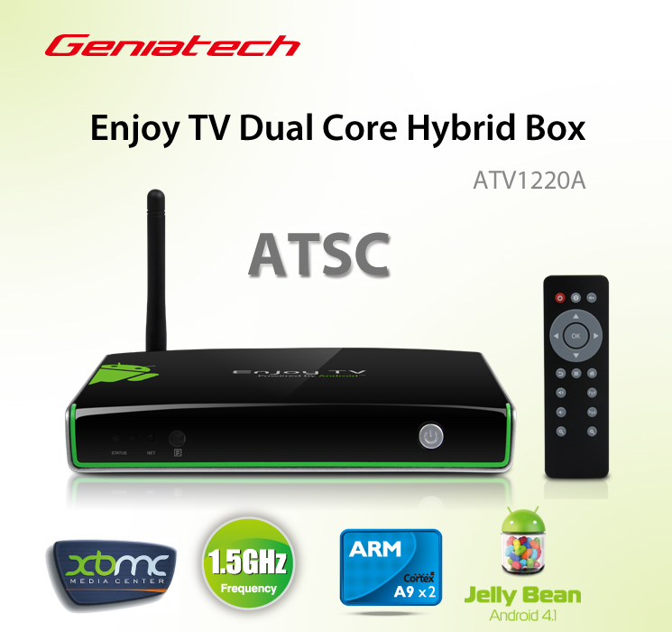 pre-sale Geniatech ATV1220 TV Box Built-in ATSC digital TV Tuner receiver Dual Core Hybrid Android 4.1 Google tv 1080P XBMC(China (Mainland))