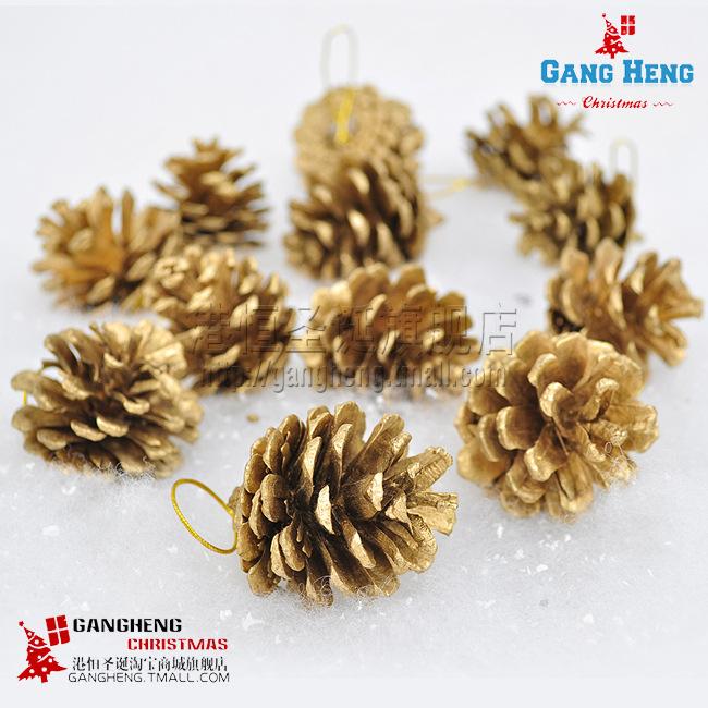 Hong Kong Hang Christmas ornaments 4cm golden pinecone Christmas tree decorations Christmas decorations wholesale(China (Mainland))