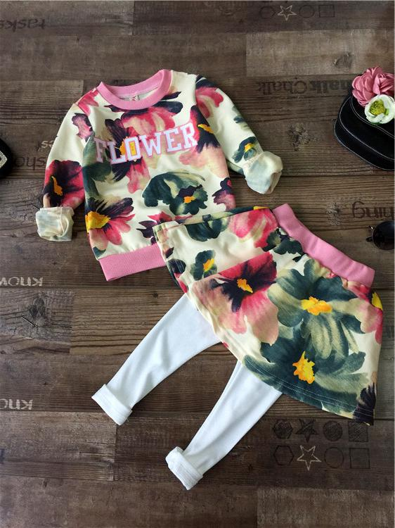 wholesale (5pcs/lot) 2015 AUTUMN FLOWER PRINTED  LONG SLEEVES SHIRT AND SKIRTS  for child girl<br><br>Aliexpress