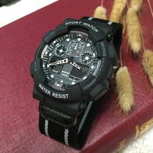Venta al por mayor camuflaje multifunción de doble pantalla electrónica militar exterior impermeable a prueba de golpes deportes cinturón de tela GA100 reloj