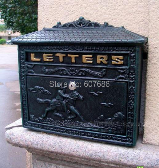 rural cast iron mail box mailbox antique metal wall mount postbox post letters box home garden. Black Bedroom Furniture Sets. Home Design Ideas