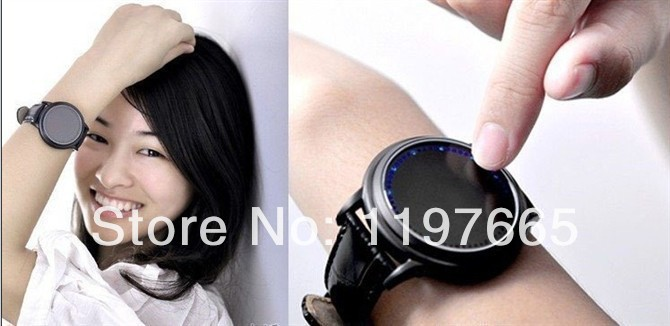 free shipping black watch men belt watches touch touch screen watch watch cool black shell table L05(China (Mainland))