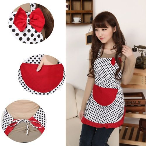 Beautiful Apron Chic Cooking Apron Women Bowknot Bib Apron Dress Cute Kitchen Flirty with Pocket(China (Mainland))