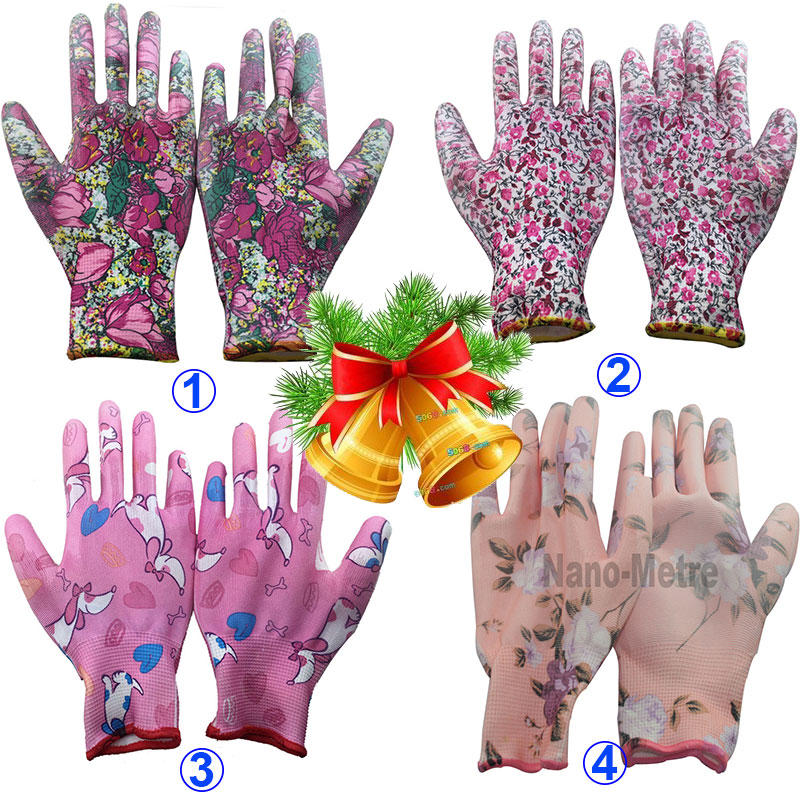 NMSafety 3 pairs Lightness 13 gauge flower print polyester liner coated PU gloves,women garden gloves Fashion(China (Mainland))