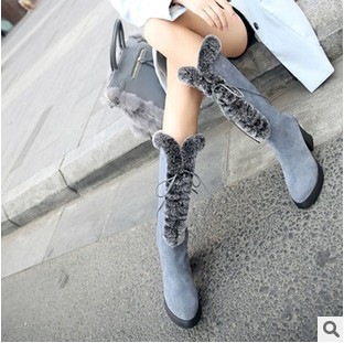 The latest winter mid-calf women boots genuine leather rabbit fur thick heel female snow boots zip and lace fashion beauty shoe(China (Mainland))