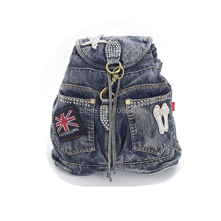 2014 New Vintage Fashion Rhinestone Star Shoes Denim Jeans Women Unisex Daypack Backpacks Totes For Female Free Shipping<br><br>Aliexpress