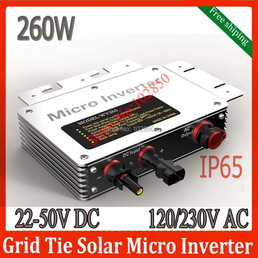 IP65 MPPT Micro Solar Grid tie Inverter 22-50V DC Input 260W pure sine wave inverter120/230V AC grid tie inverter(China (Mainland))