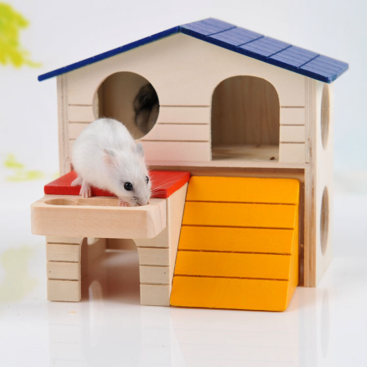 Double Layer Deluxe Wooden Homes for Mouse Hamster Pets Nest Habitat Small Pet Villa(China (Mainland))