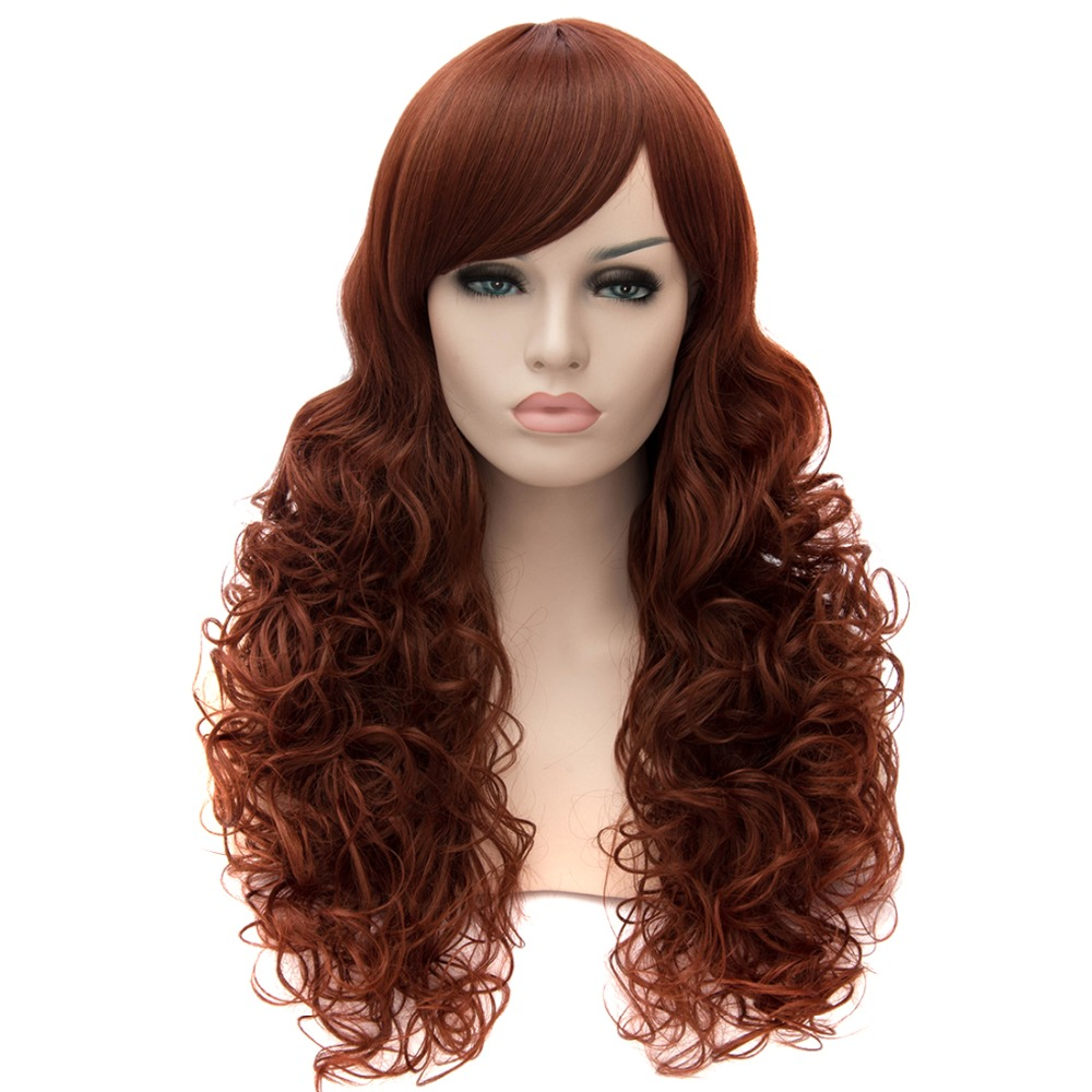 Synthetic Heat Long Small Curly Wavy Women Sexy Cosplay Red Brown Hair Full Wigs<br><br>Aliexpress