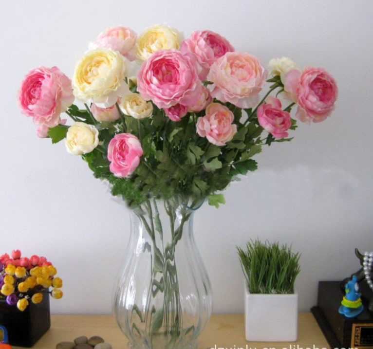 High quality artificial ranunculus flower home christmas for Artificial flowers decoration home