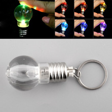 Silver Bright Creative LED Colorful Flash Lights Mini Bulb Torch Keyring Xmas Cute Keychain Keyring Clear Lamp free(China (Mainland))