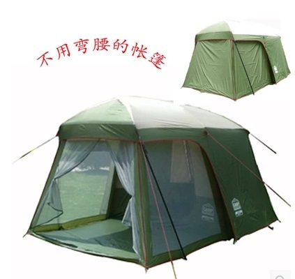 Ultralarge high quality one hall one bedroom 5-8 person double layer 200cm height waterproof camping tent in big promotion price(China (Mainland))