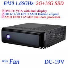 19 V DC ordinateur avec AMD E450 1.65 GHz dual – core processeur châssis SECC dvi – d VGA double affichage 2 G RAM 16 G SSD windows ou linux